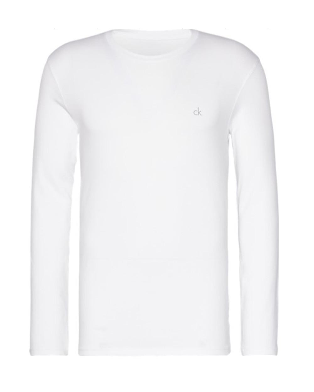 Pánské tričko Calvin Klein logo sleeve crew neck bílé d6f4b76480