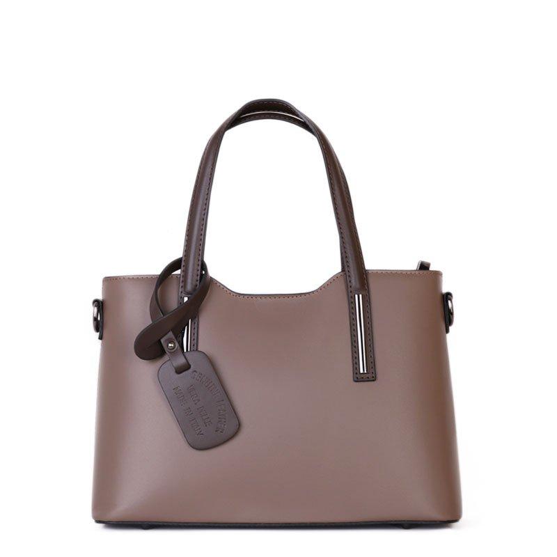f81e6ff256 ITALSKÉ Kožená kabelka z Itálie hnědá s čokoládovou Carina střední ...