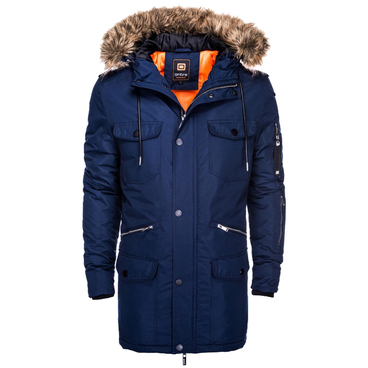 894a9e2ad2 Ombre Clothing Férfi téli parka kabát Jackes navy - Glami.hu
