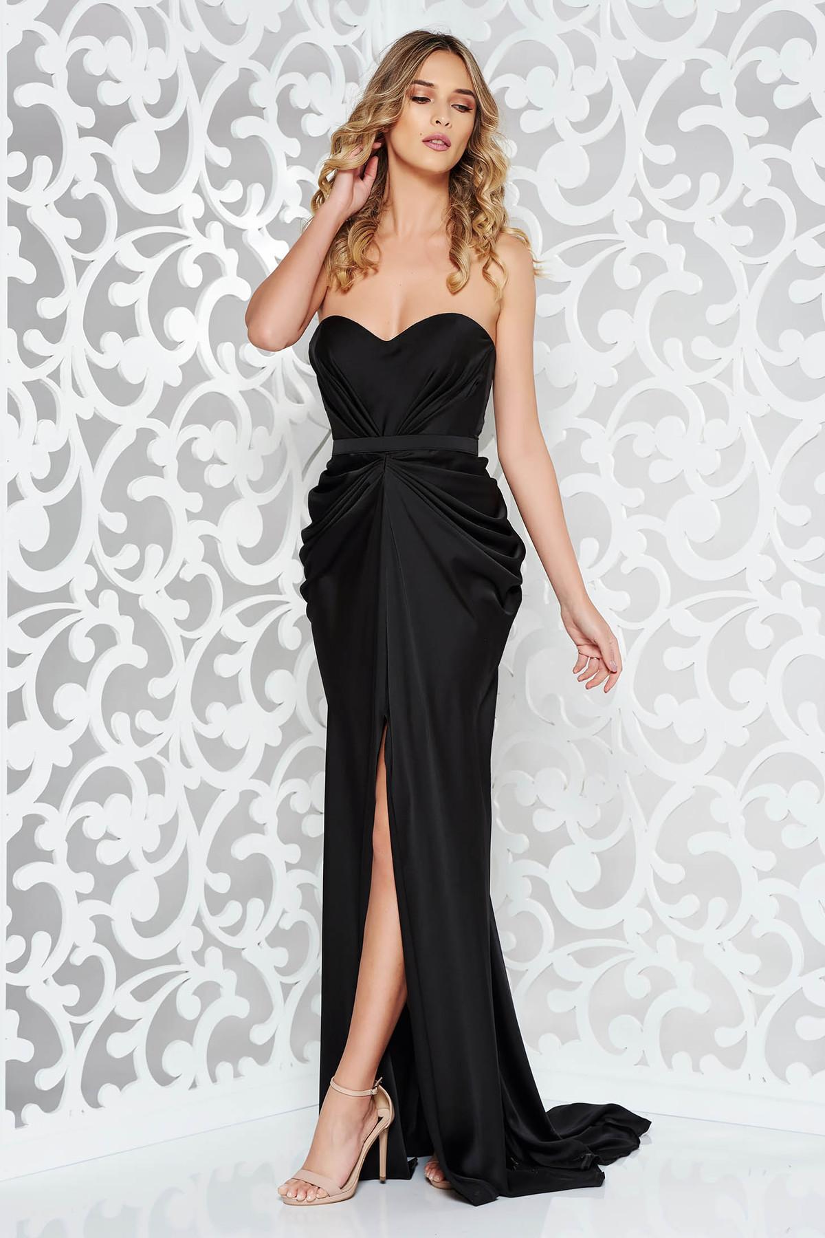 cd911dfa12 Fekete StarShinerS ruha szatén anyagból váll nélküli szivacsos, push ...