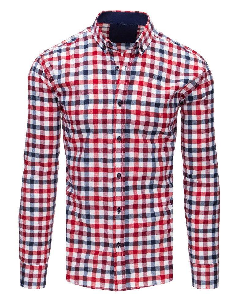 545d32193634 Elegantná pánska kockovaná tmavomodro-červeno-biela košeľa - Glami.sk