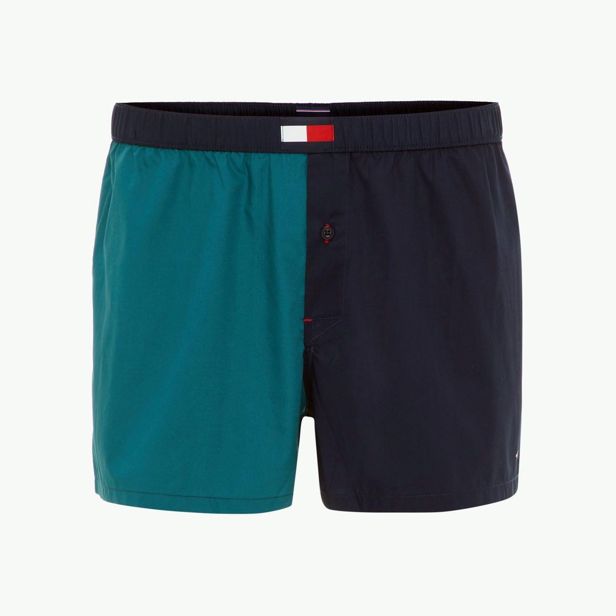 706d1c0806e7 TOMMY HILFIGER Modro zelené trenky Woven Boxer S - Glami.sk