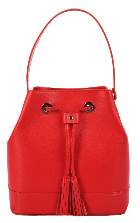 88df130254 elegantní kožená kabelka - vak 5324 červená