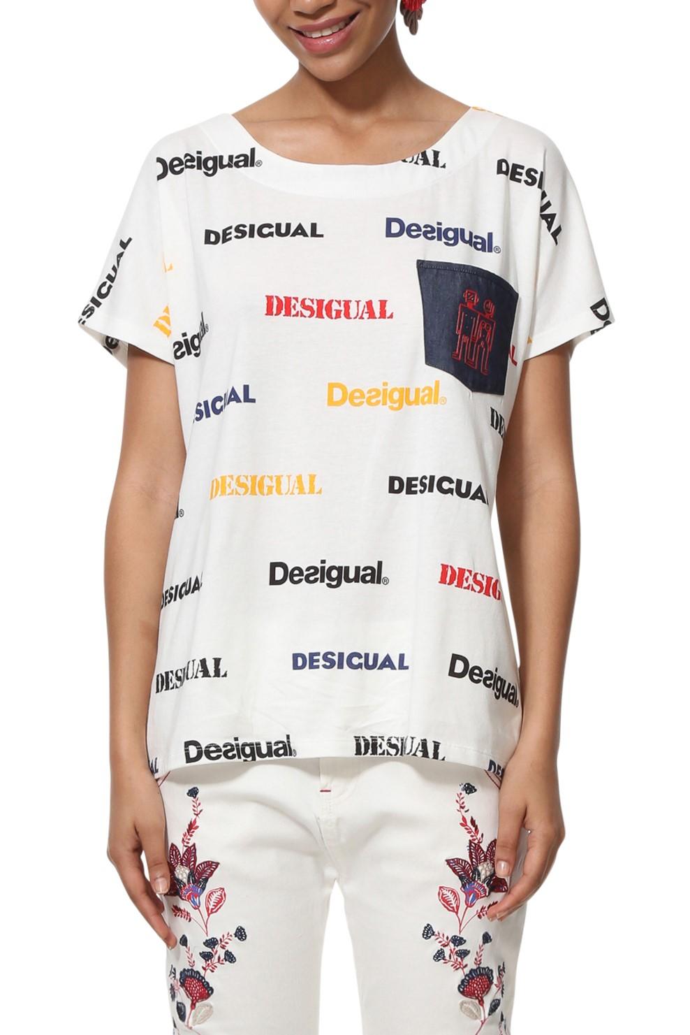 c66c8f7fb798 Desigual biele tričko TS Kendall s logom - Glami.sk