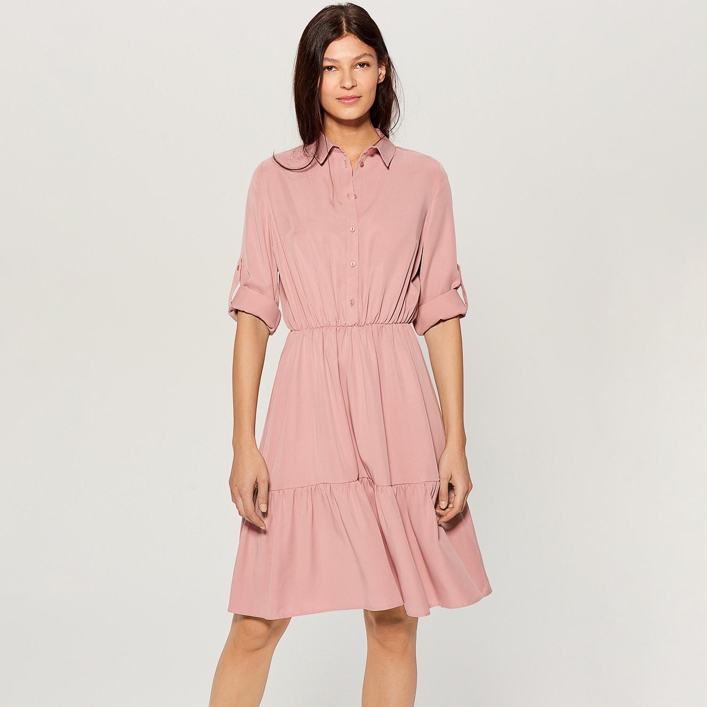 Mohito - Košilové šaty z lyocellu - Růžová - Glami.cz ddc83e42818