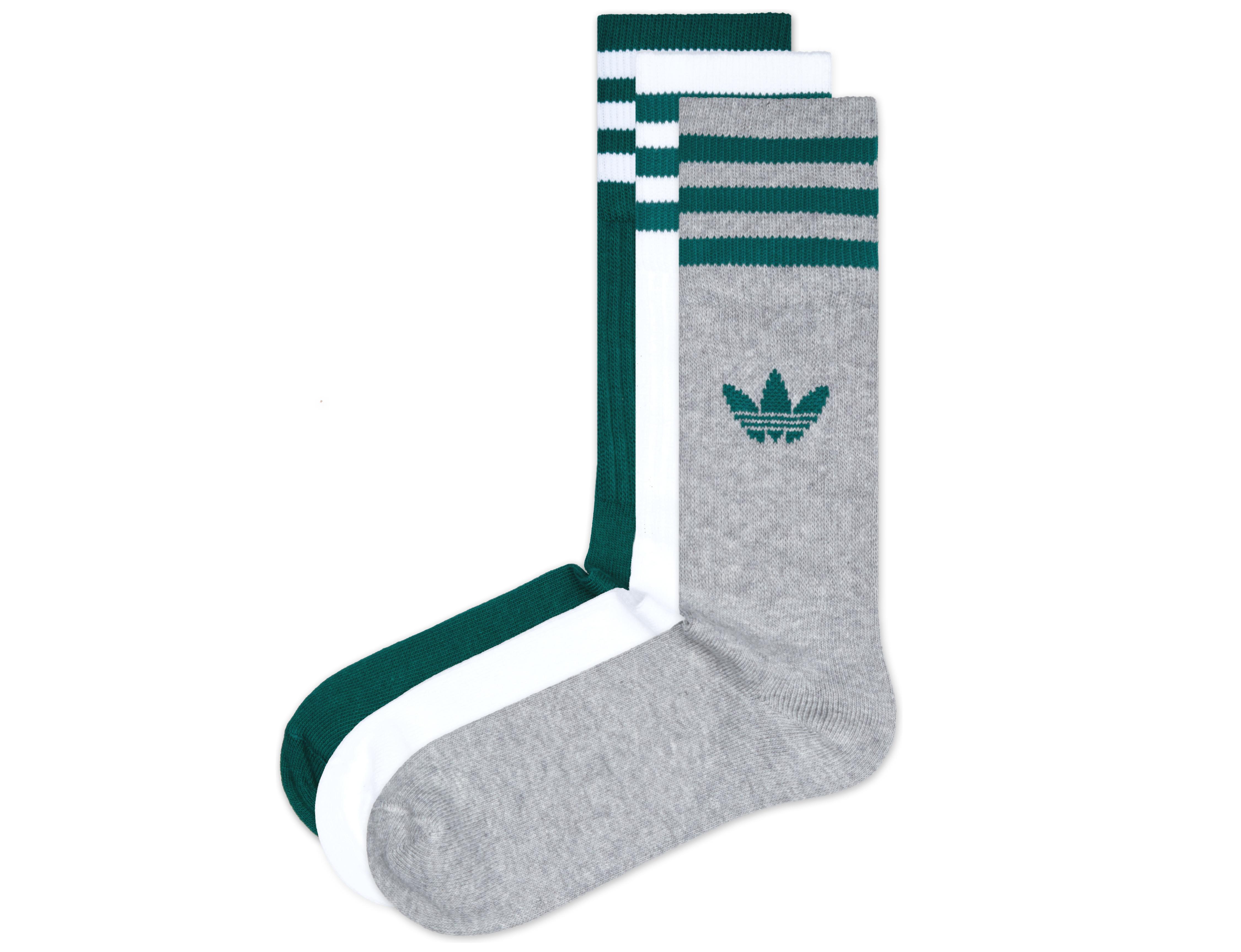 adidas Originals Solid Crew Ponožky 3 páry Zelená Bílá Šedá - Glami.cz 572c978319