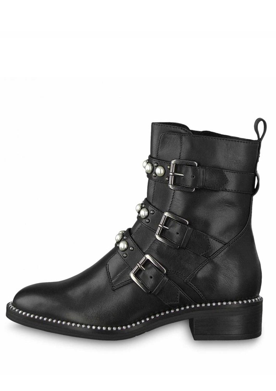 Tamaris kožené kotníkové boty 1-25396-21 s perlami black - Glami.cz 99a011e6b69
