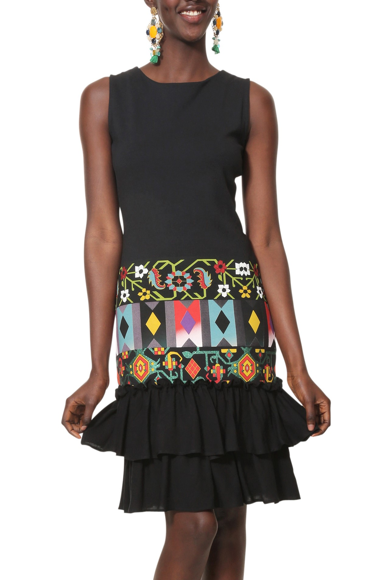 Desigual čierne šaty Vest Elisabeth s farebnými motívmi - Glami.sk 26c3d65b6c2