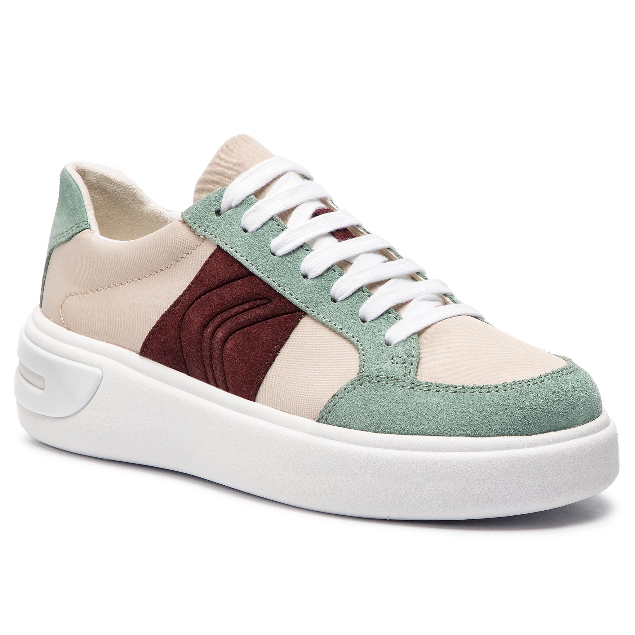 Sneakersy GEOX - D Ottaya F D92BYF 01122 C5K3U Cream Lt Green - Glami.cz 87315705b0