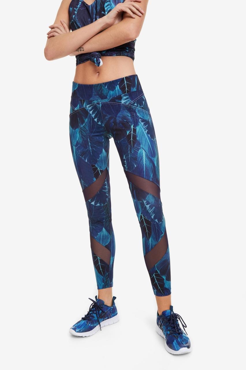 03f7b8ebcca Desigual modré sportovní legíny Zip-Up Leggings Bio Patching - L ...