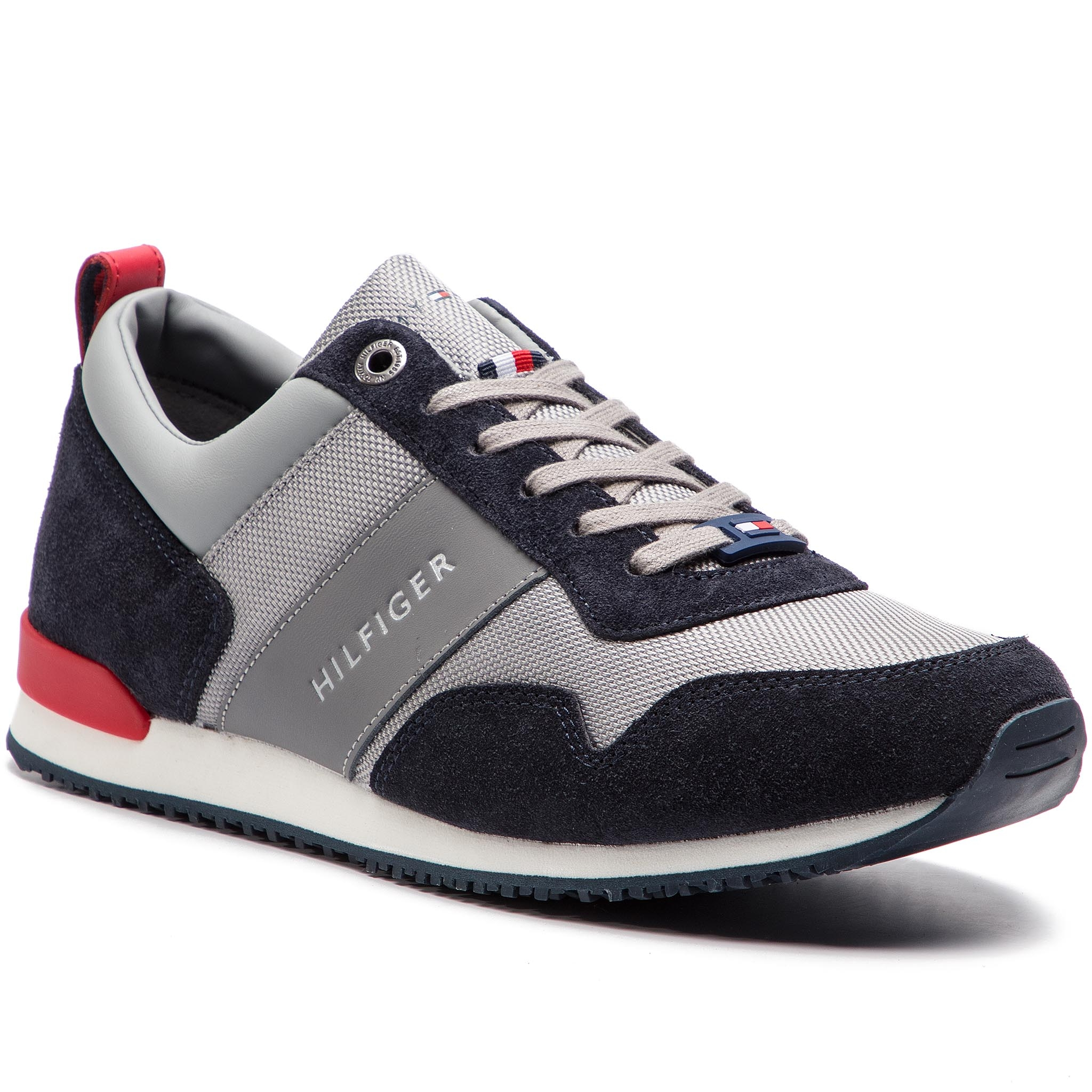... Sneakersy TOMMY HILFIGER - Iconic Material Mix Runner FM0FM02042  Midnight Light Grey Tango Red. Nové Sneakersy ... 0b775f5fe12