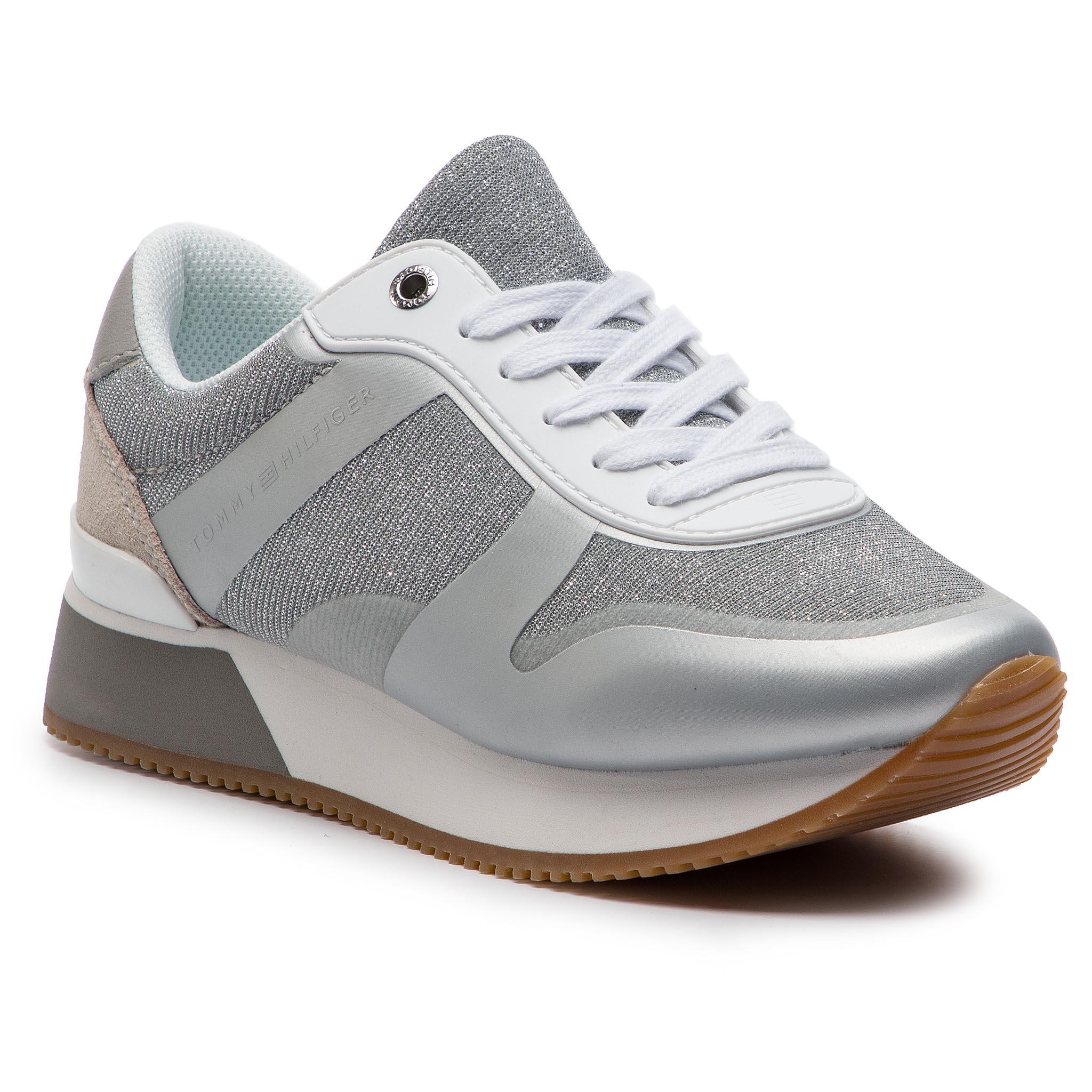 Sportcipő TOMMY HILFIGER - Glitter City Sneaker FW0FW03772 Silver ... 391b5664e2