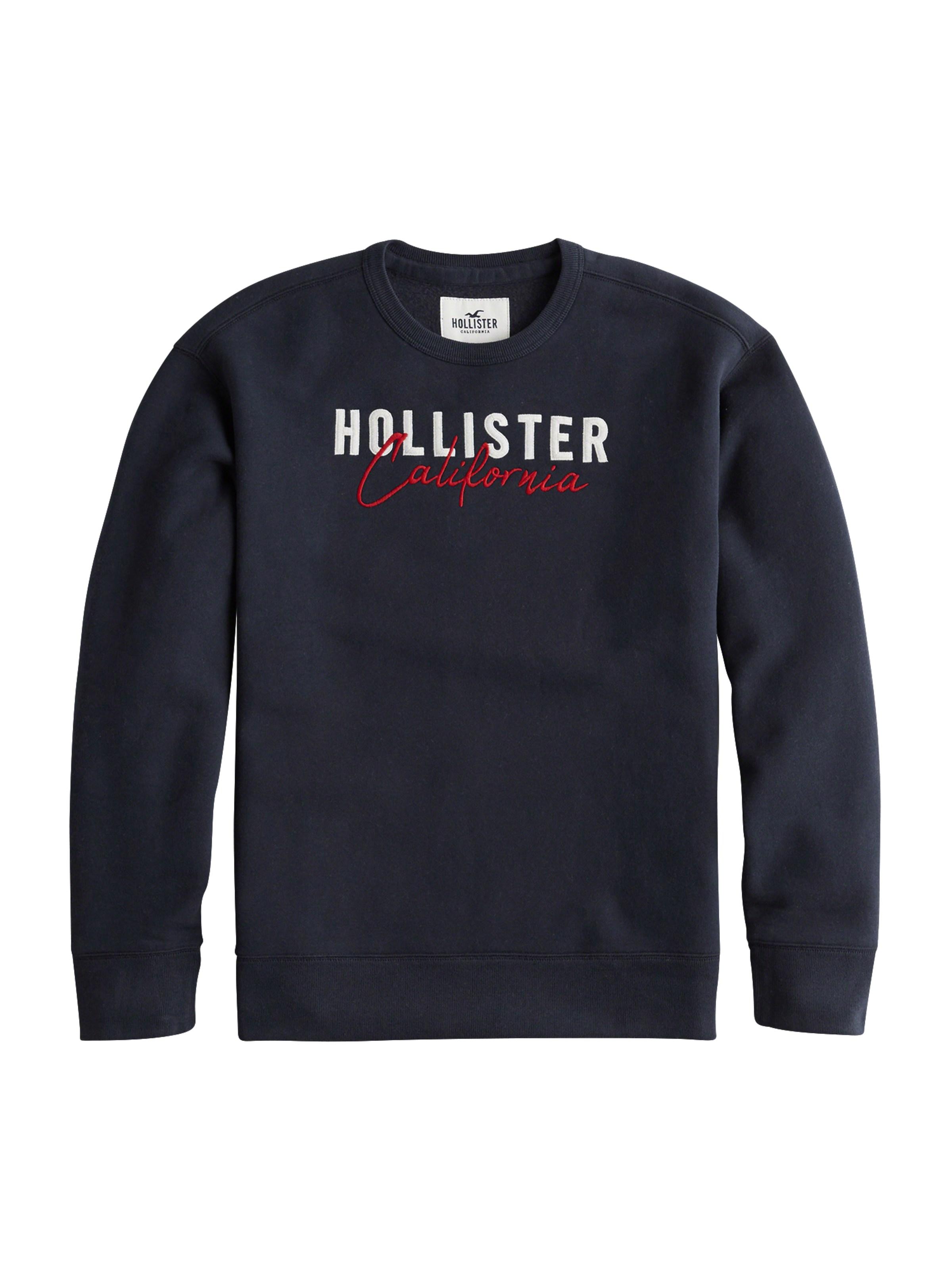 HOLLISTER Mikina  HOLLISTER SCRIPT CREW  námořnická modř   bílá ... f1d26141128
