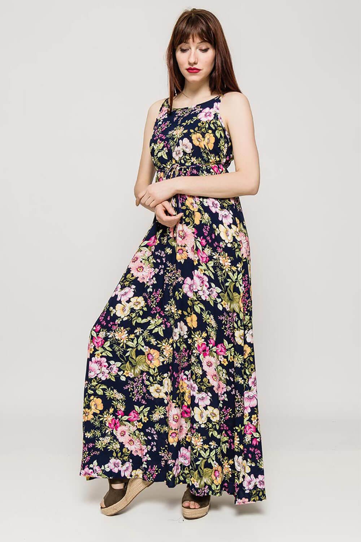 c57da422ed3f Rouzit Dlhé tmavomodré kvetované šaty na ramienka - Glami.sk