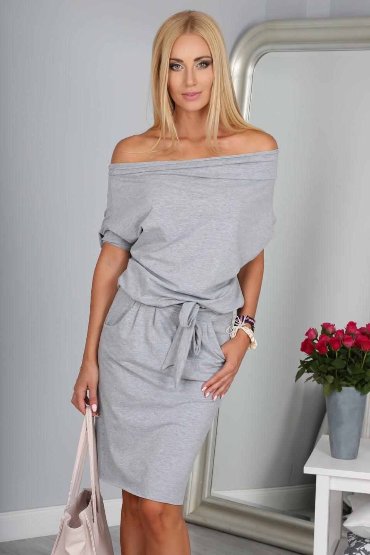0bbdeebb952b FASARDI Krásne letné sivé šaty s viazaním okolo pásu  S - Glami.sk