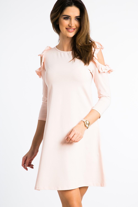42ee04a4810a FASARDI Lososové šaty s výrezmi na pleciach a volánmi  S - Glami.sk