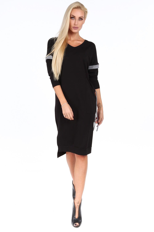 FASARDI Čierne voľné dámske šaty s V výstrihom  S - Glami.sk 05023af8695