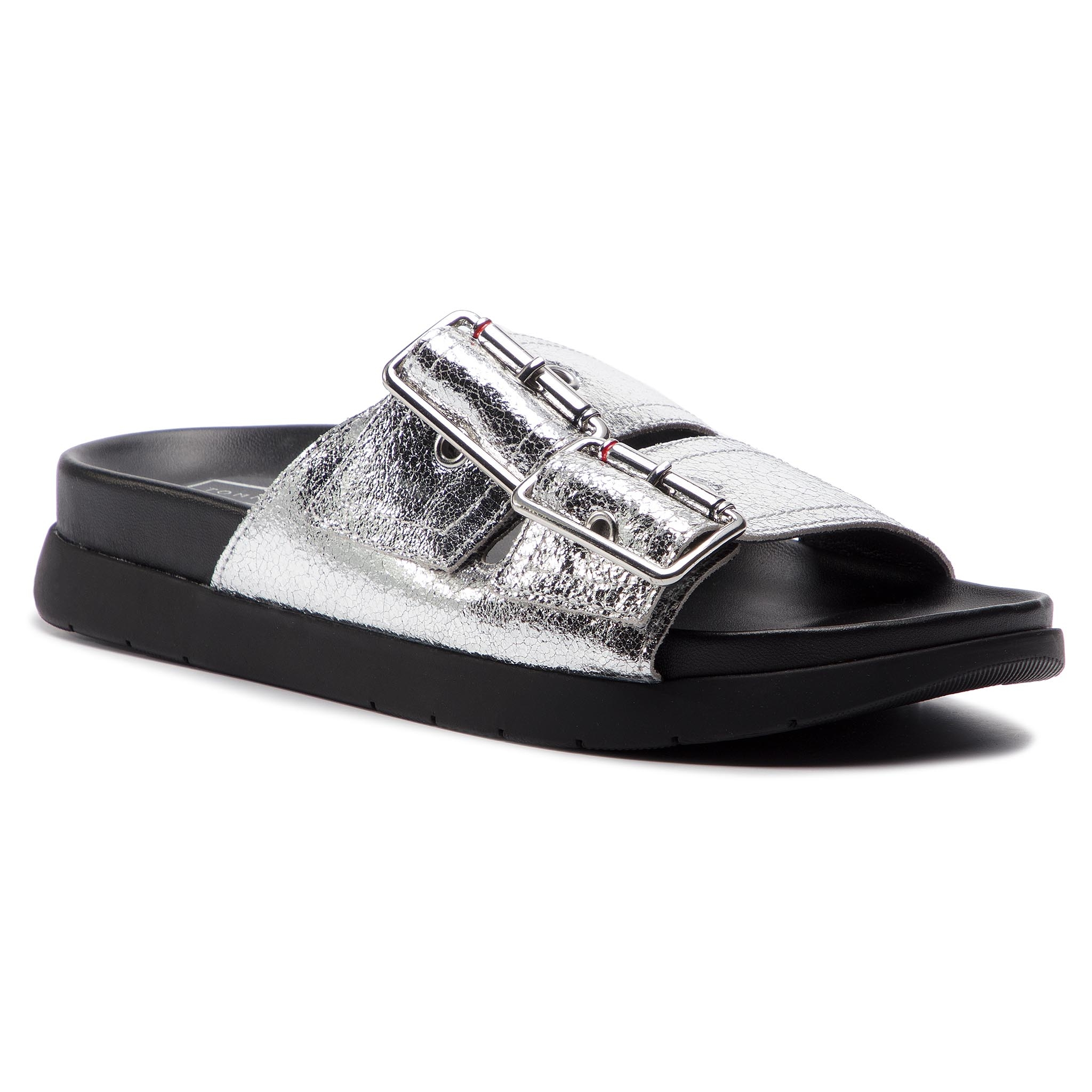 e1e0b6cb15 Papucs TOMMY HILFIGER - Crackle Metallic Footbed Sandal FW0FW03805 Silver  000