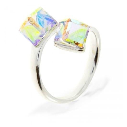 Spark Strieborný prsteň s kryštálmi Swarovski Elements Cube AB ... a0729bc355b