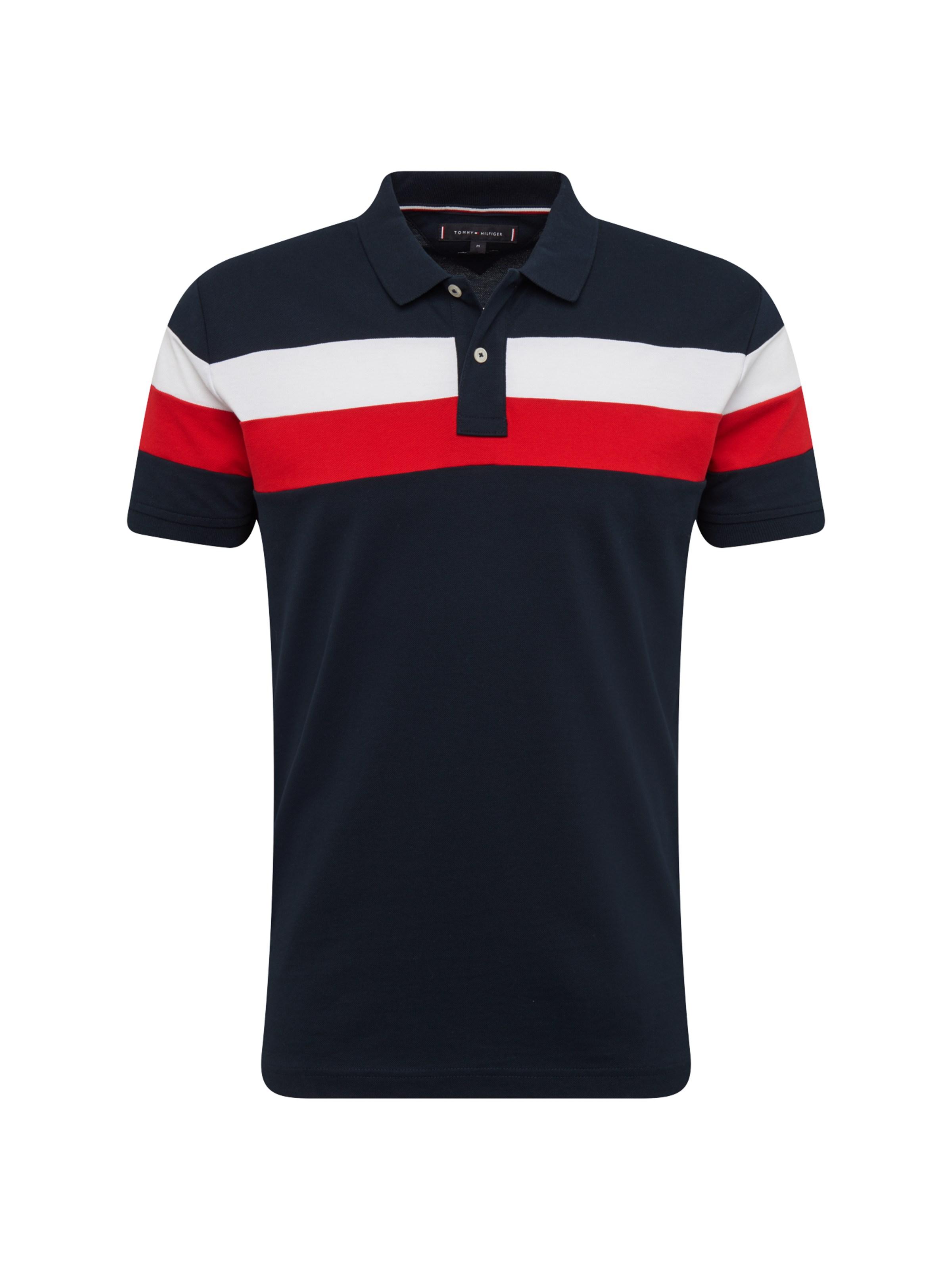 TOMMY HILFIGER Tričko  Chest Stripe  tmavě modrá   červená   bílá ... f16a27ec996