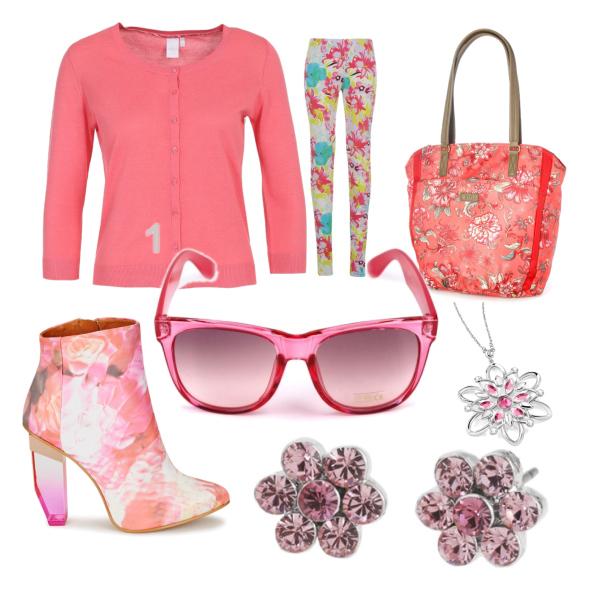 růžovo-květovaný set