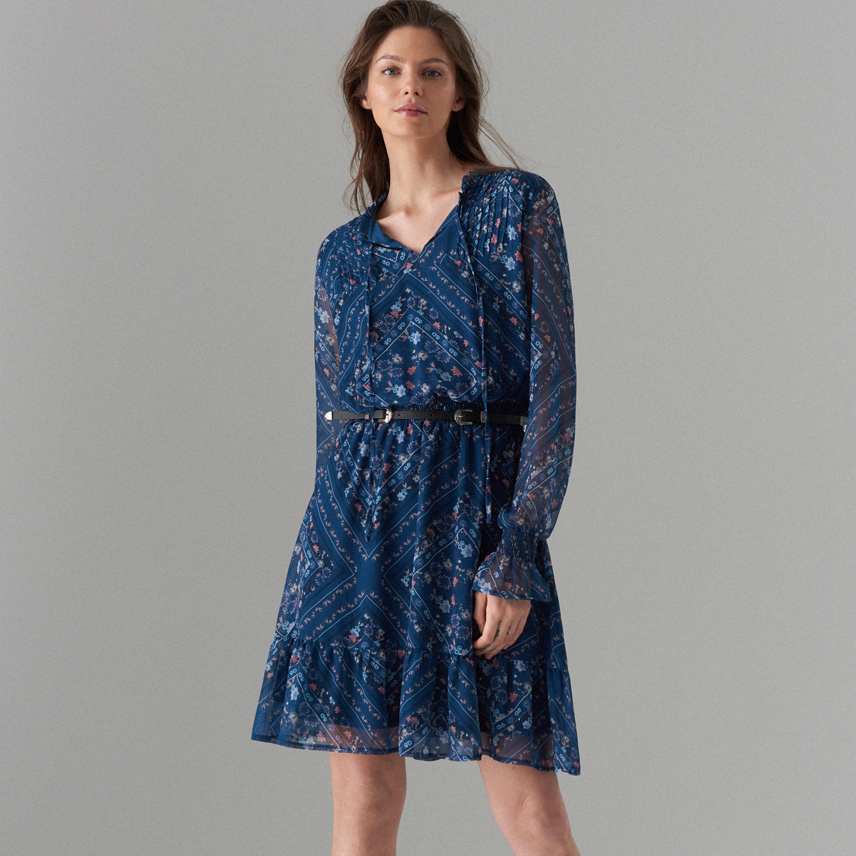 48ac2d9ebef Mohito - Květované šaty s ozdobným vázáním - Modrá - Glami.cz