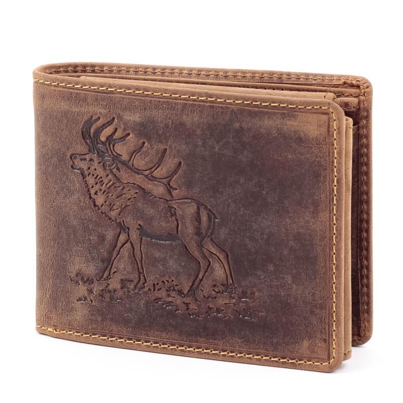 9ea2746e2313 GreenDeed szarvas mintás barna férfi bőr pénztárca - Glami.hu