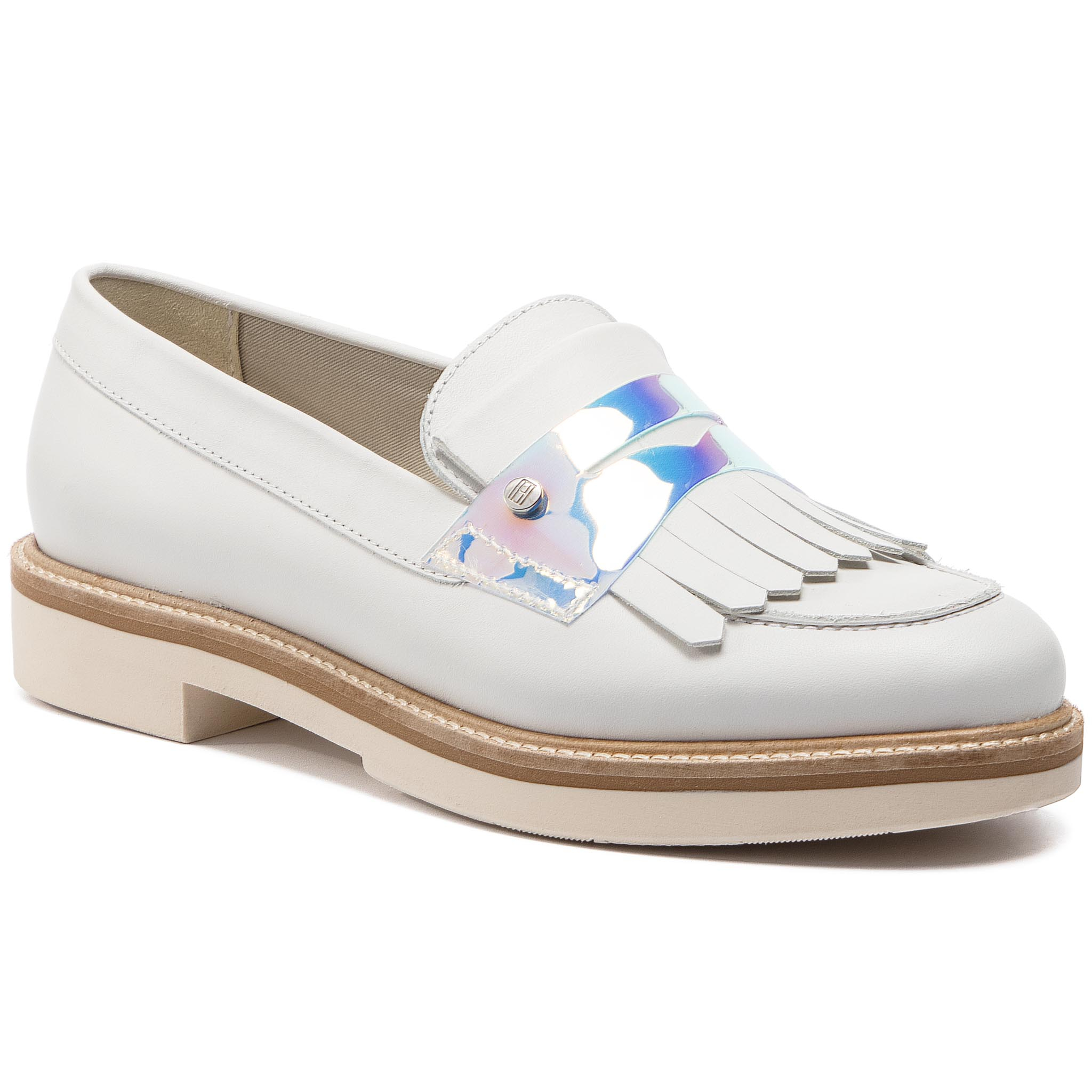 32509323dd2f1 Pantofi TOMMY HILFIGER - Iridescent Detail Loafer FW0FW03930 Whisper White  121