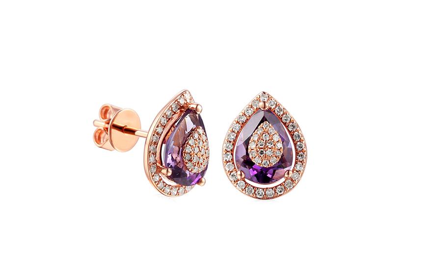 aaeeaeab8 iZlato Forever Zlaté náušnice s ametystom a diamantmi Ariana Rose  IZBR080RN. 1