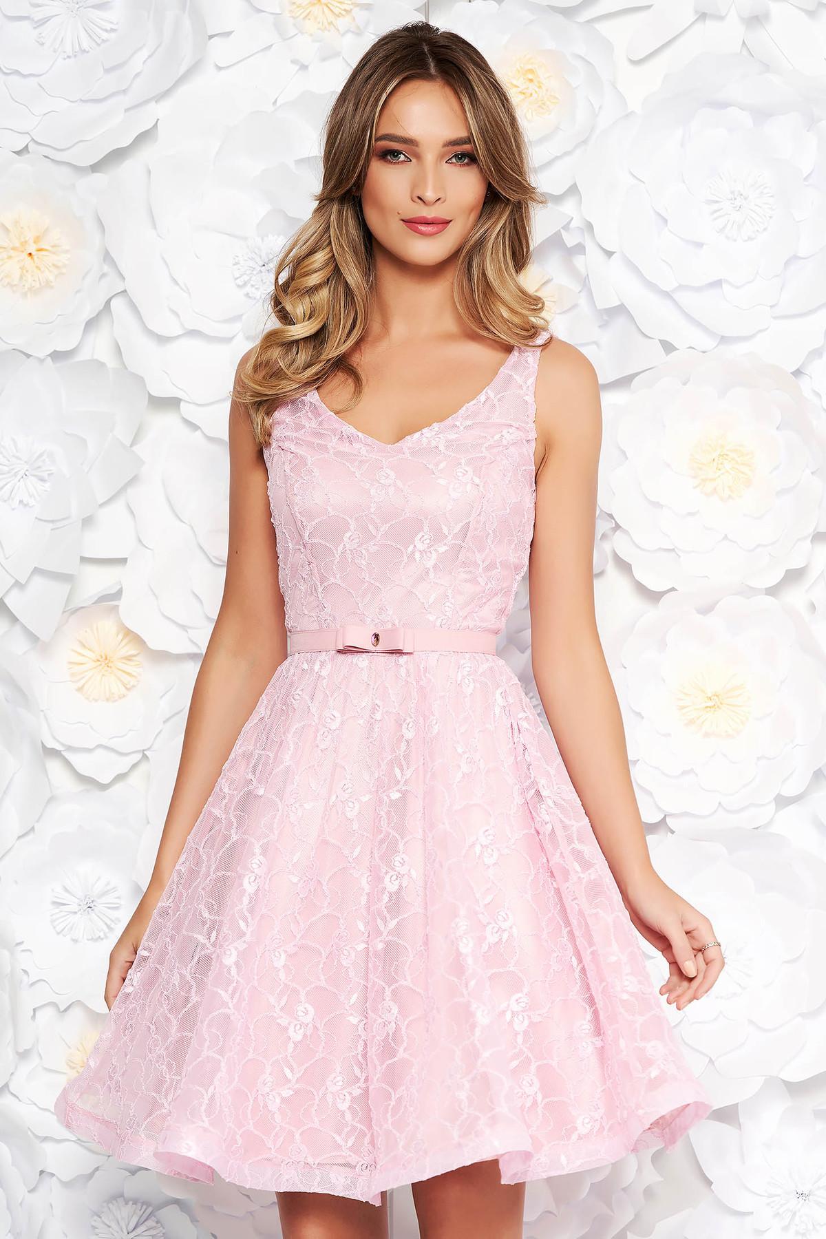 71bef40277c4 Rózsaszínű StarShinerS alkalmi harang ruha csipkés anyagból belső ...
