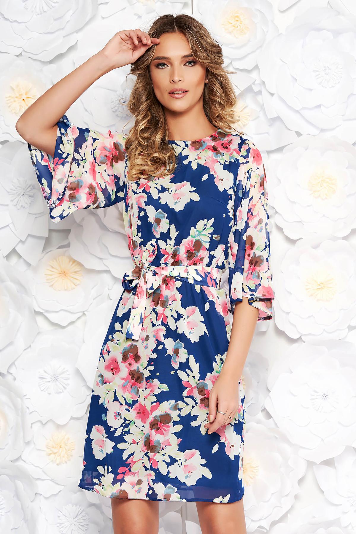 7aaba3cc3b Kék StarShinerS elegáns ruha hétköznapi fátyol anyagból virágmintás  díszítéssel. 1