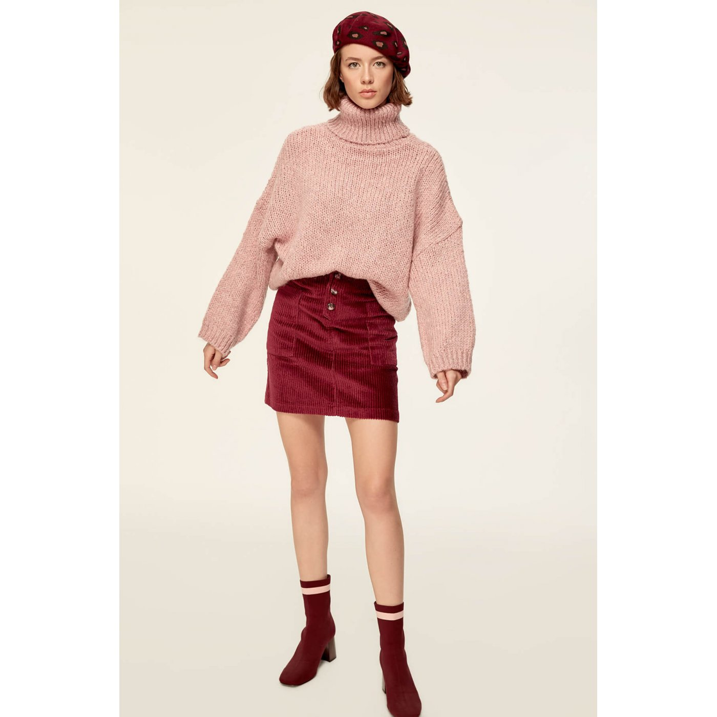 006fb656a Trendyol Burgundy-Button Velvet Skirt Burgundy - Glami.cz