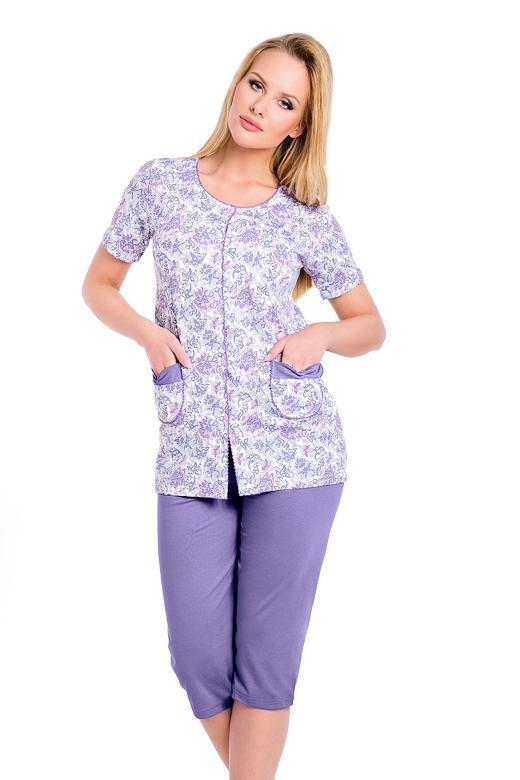 68fafc4e5407 Taro Dámske fialové bavlnené pyžamo s gombíkmi Wera - Glami.sk