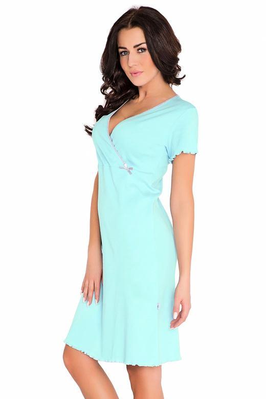 6316409dc57a DN Nightwear Bavlnená tehotenská a dojčiaca nočná košeľa Ruby tyrkysová