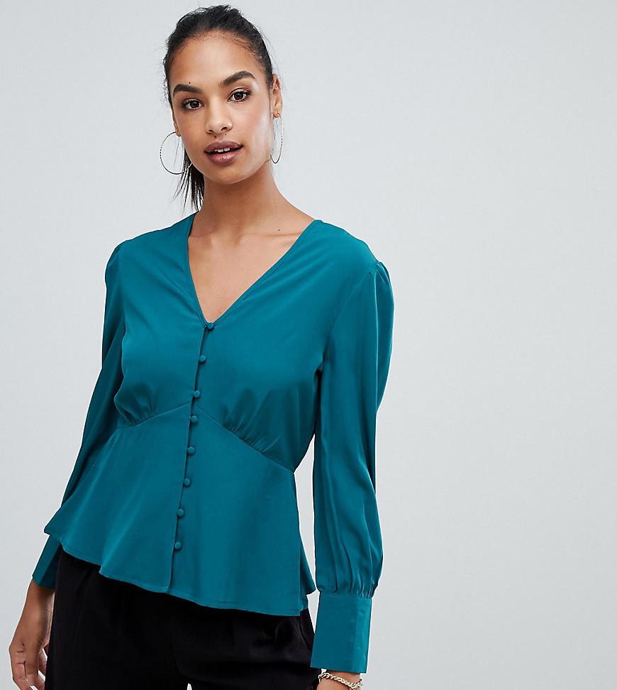 b8b47a0db1c3 Boohoo button down blouse in teal - Multi - Glami.sk