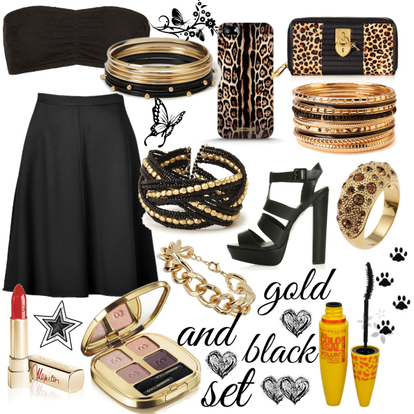 gold and black set
