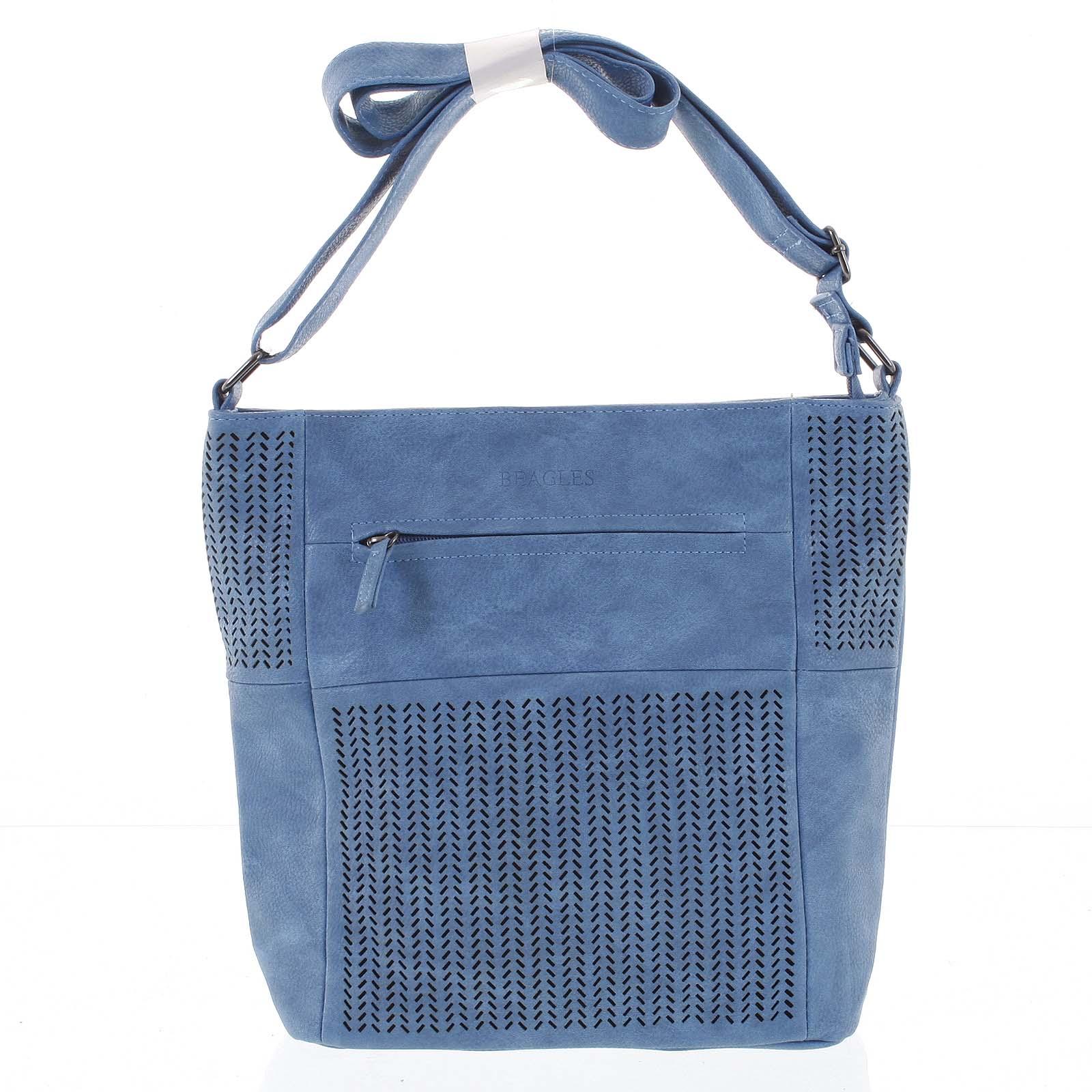 6edcffb5da Stredná trendy perforovaná crossbody kabelka modrá - Beagles ...