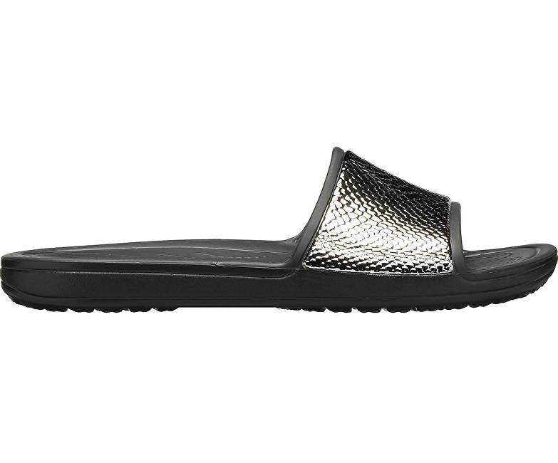 8800851271 Crocs Šľapky Crocs Sloane MetalText Slide W Gunmetal Black 205737-0FG. 1