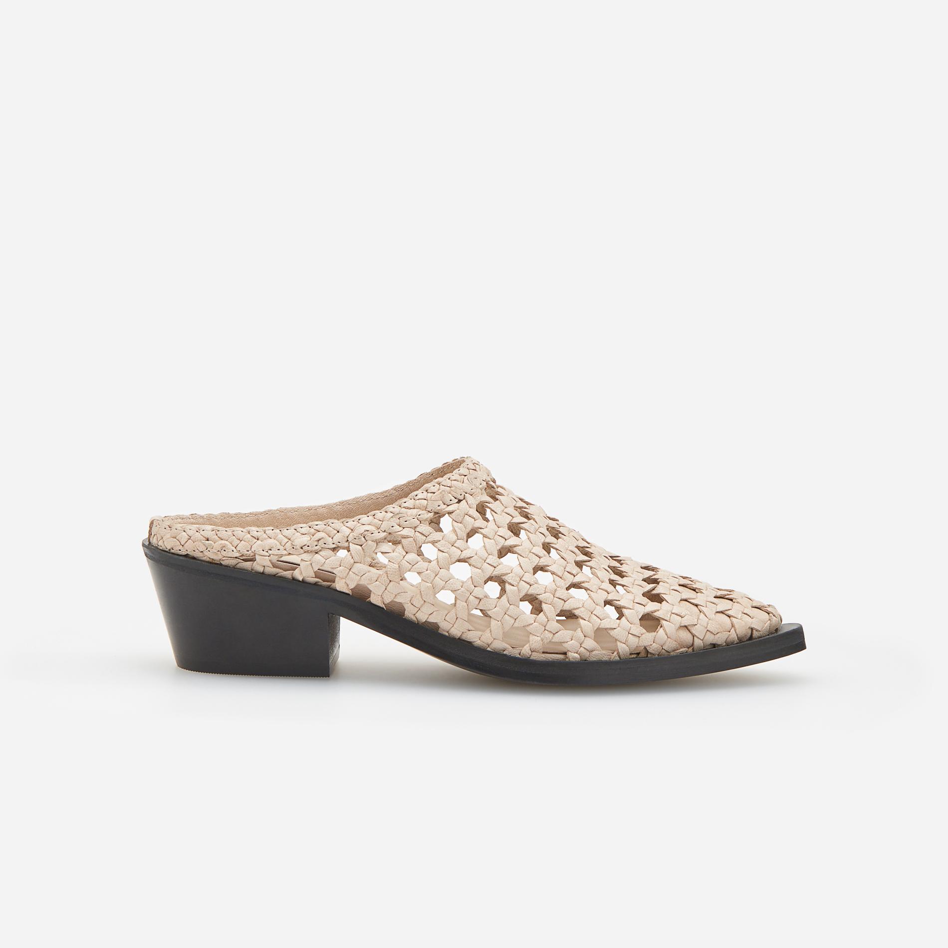 24cc59450c37 Reserved Kožne sandale s otvorenom petom - slonovača - Glami.hr