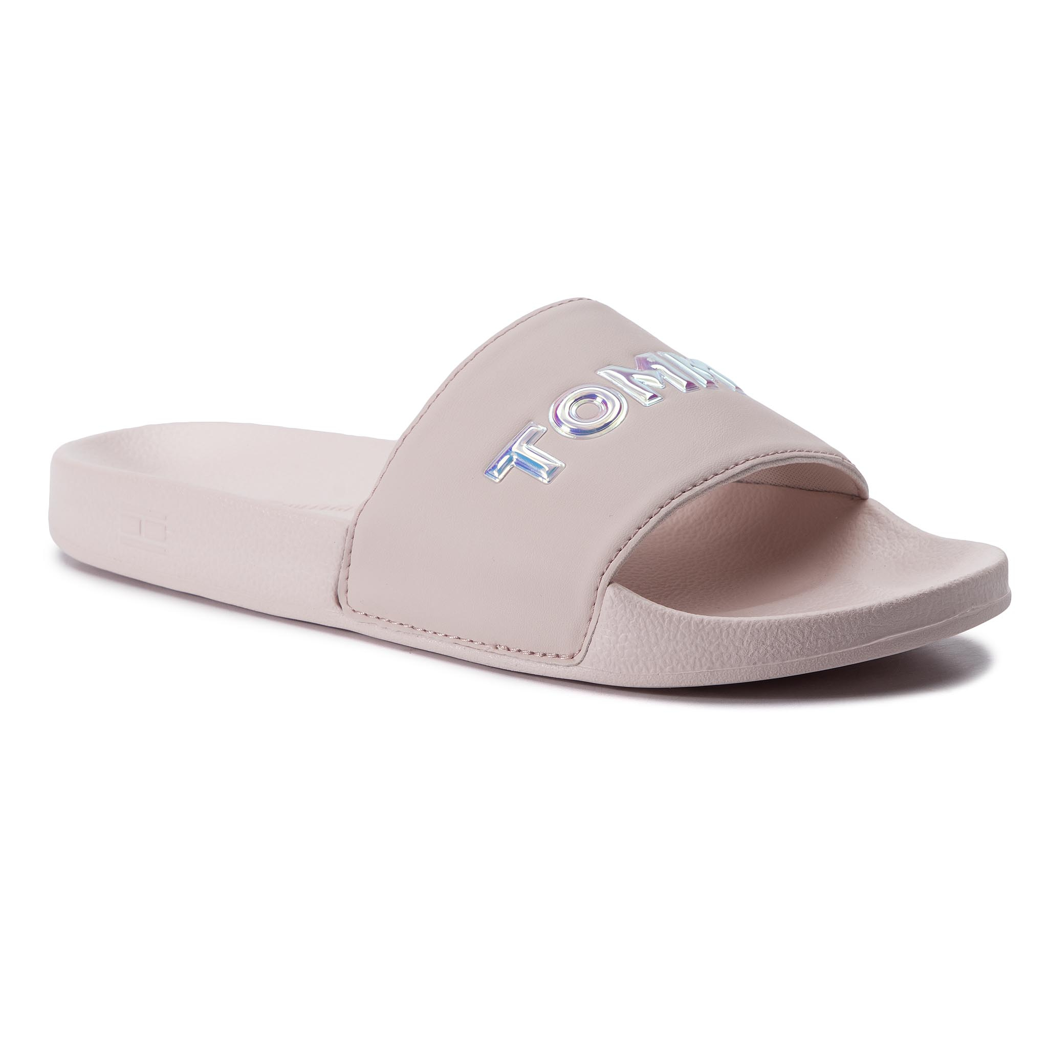 7f4ed1a90c Šľapky TOMMY HILFIGER - Iridescent Detail Pool Slide FW0FW04237 Silver  Peony 658
