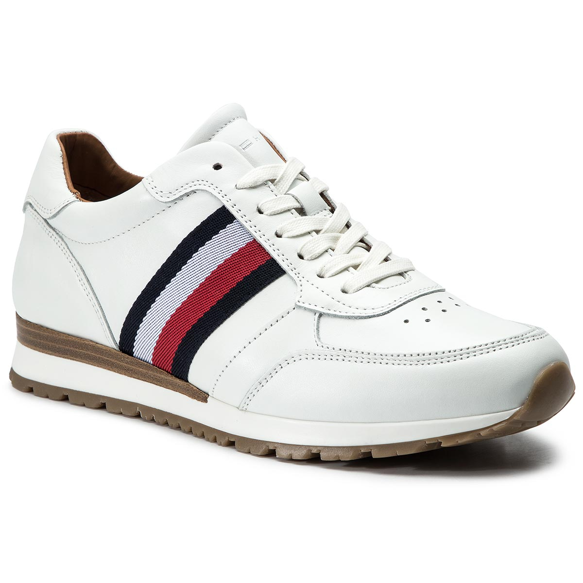 97995f6af650 Sneakersy TOMMY HILFIGER - Luxury Corporate Leather Runner FM0FM00960 White  100