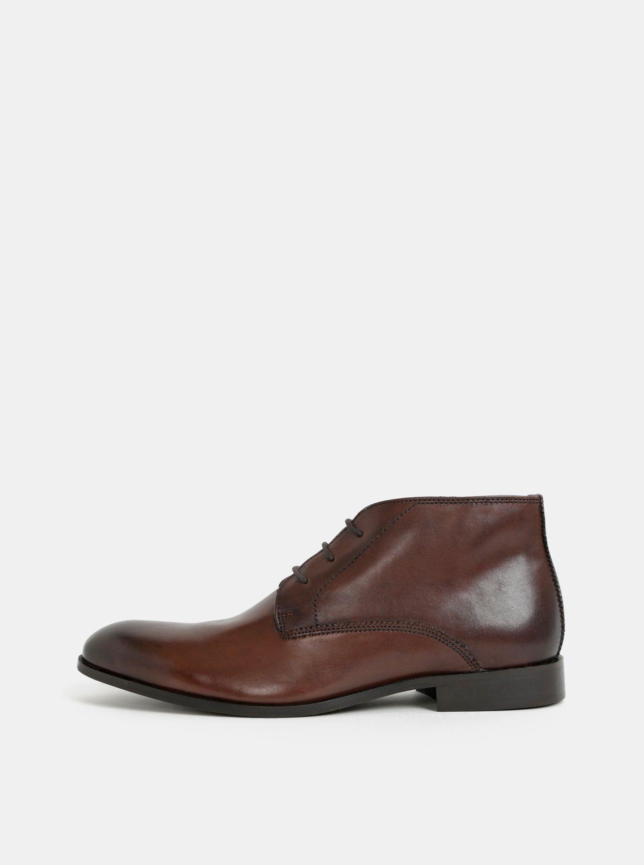 dc885afb87 Tmavohnedé pánske kožené členkové topánky Burton Menswear London.  Tmavohnedé pánske kožené členkové topánky Burton Menswear London