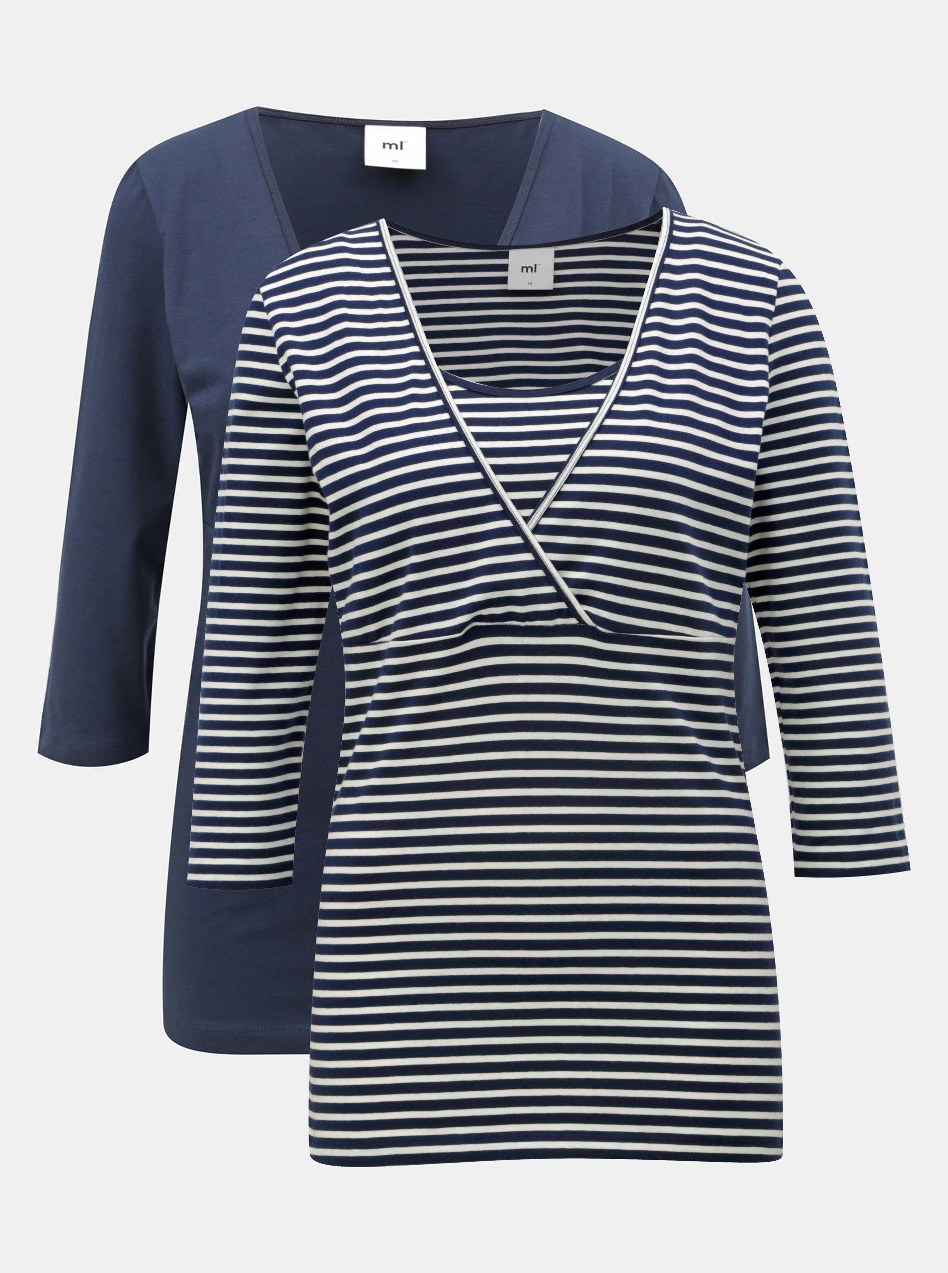 df8a16113 Sada dvou kojicích basic triček v modré a bílé barvě Mama.licious ...