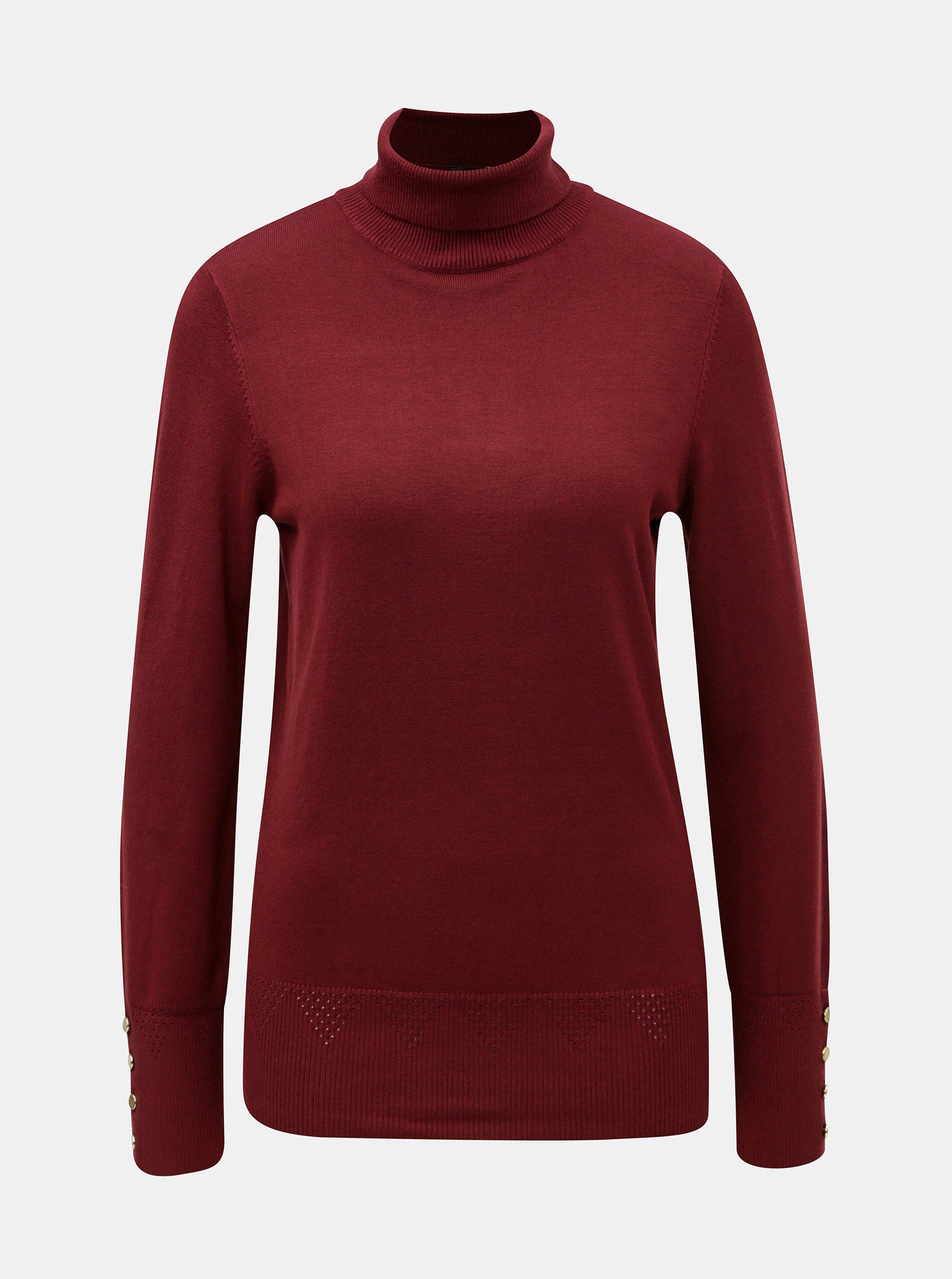 8187ffa3cdc8 Vínový sveter s rolákom a gombíkmi na rukávoch Dorothy Perkins ...