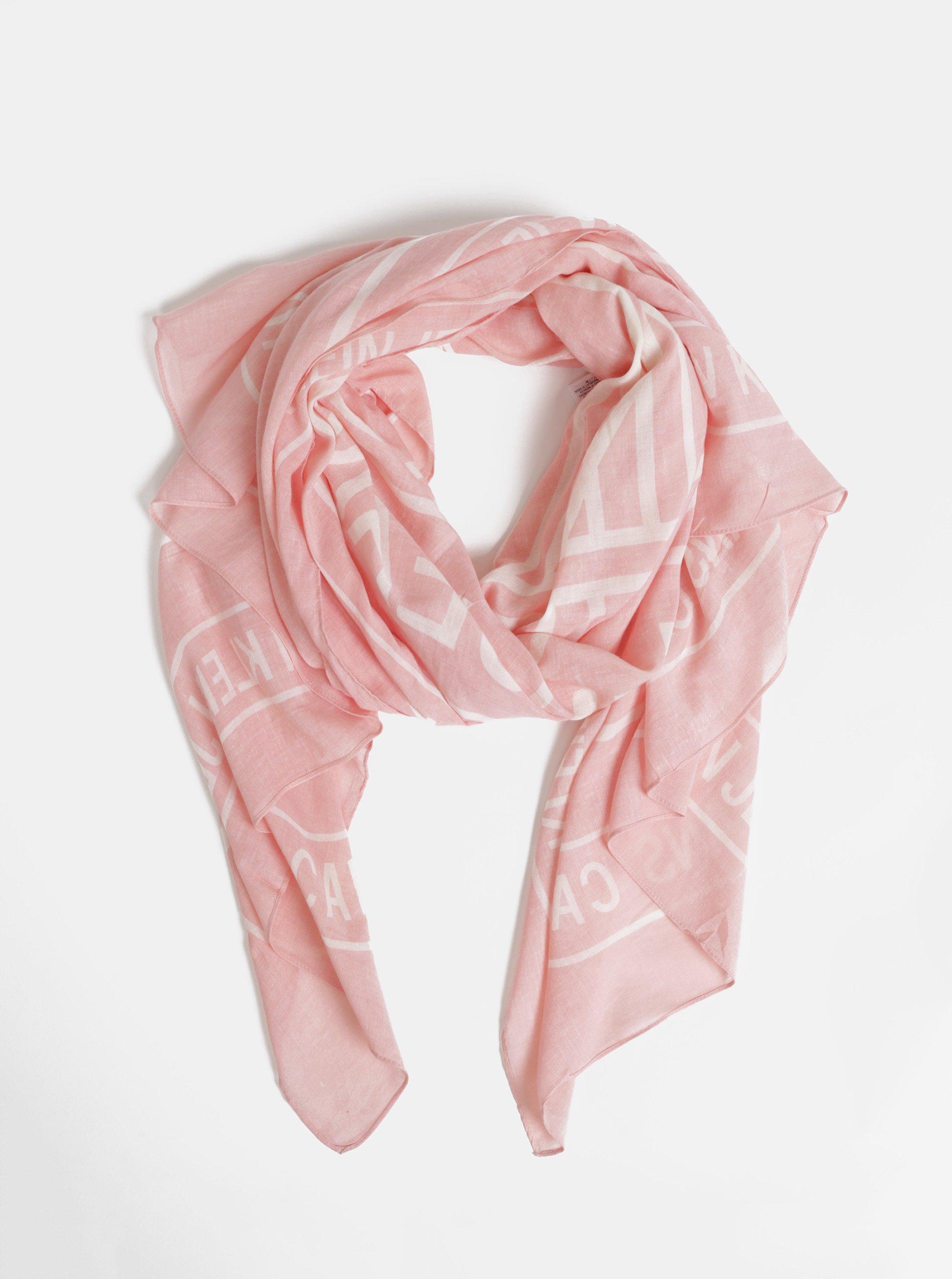 101a6e1c2 Růžový dámský vzorovaný šátek Calvin Klein Jeans - Glami.cz