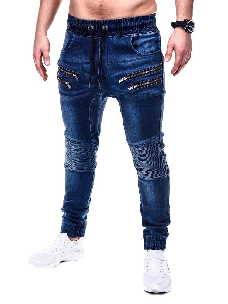 7058dc3e5f5c9 Ombre Clothing Moderní tmavě modré pánské jogger p405 - Glami.cz