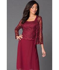 Glamor Krátke bordó spoločenské šaty s čipkovaným kabátikom 48f5185b500