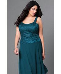 Glamor Krátké společenské šaty s krajkovým kabátkem modrozelené 1d86a2a1f2