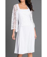 1815a048f125 Glamor Krátke biele spoločenské šaty s čipkovaným kabátikom
