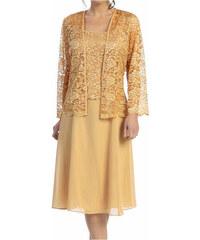 Glamor Krátke zlaté spoločenské šaty s čipkovaným kabátikom 1f256b318cf